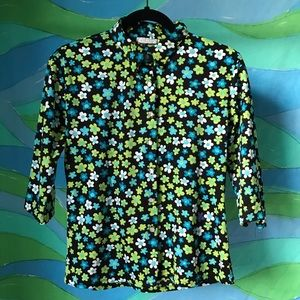 vtg 90s does 70s flower power button front blouse